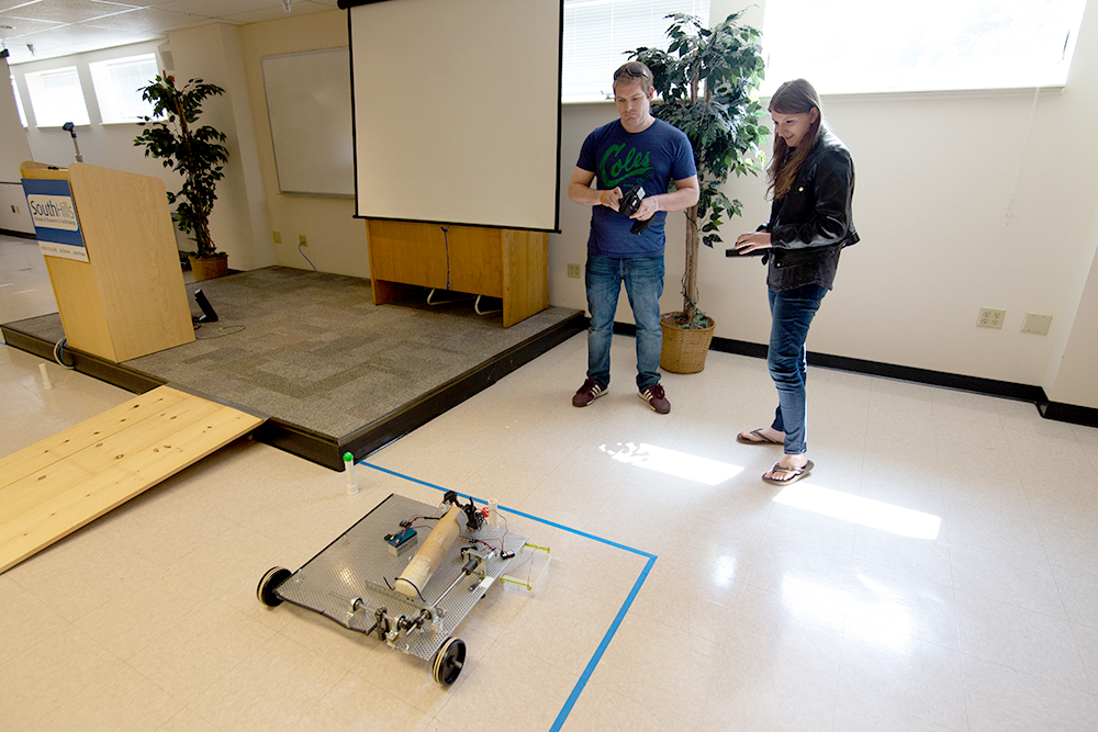 Engineering Technology students testing robots