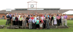 This photo shows faculty and staff from all South Hills Campuses on the lawn at the State College campus