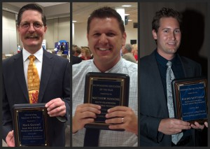 This photo shows three South Hills instructors holding awards