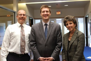 South Hills President S. Paul Mazza III, Commissioner Michael Pipe, and Assistant Director of Education Sue Vidmar