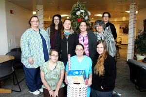 Health Careers Club Members with donations for Women's Resource Center