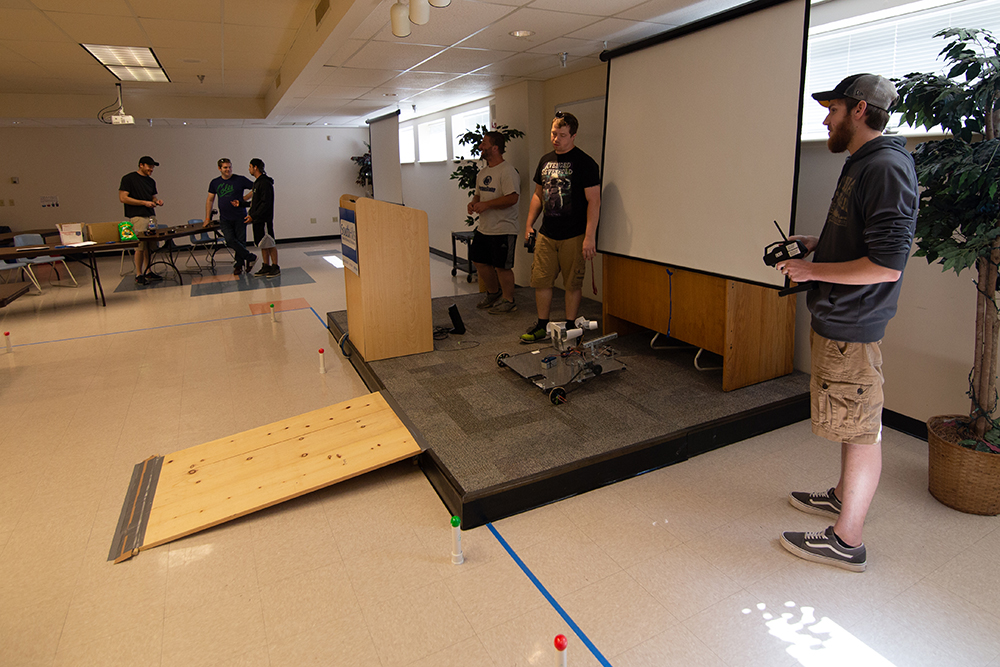 Engineering Technology students testing their robots