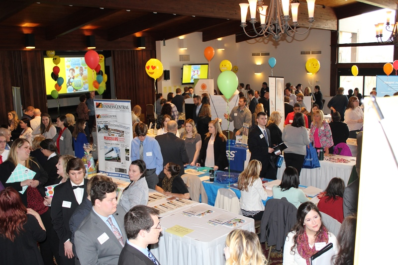 This photo shows attendees at the career fair