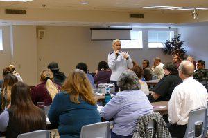 Lieutenant Colonel Karen Kramer speaking to South Hills Students
