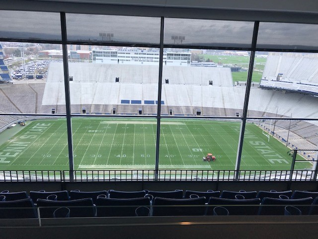 The view of the PSU football field from the South Hills from the President's Box at Beaver Stadium