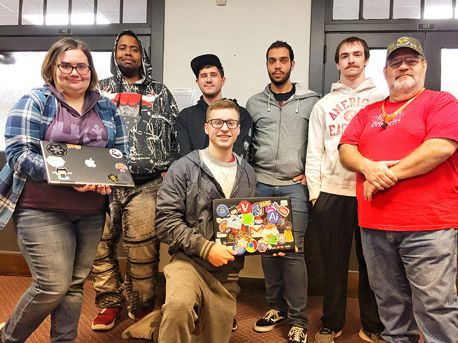 This photo shows Altoona Information Technology students at the Local Hack Day event