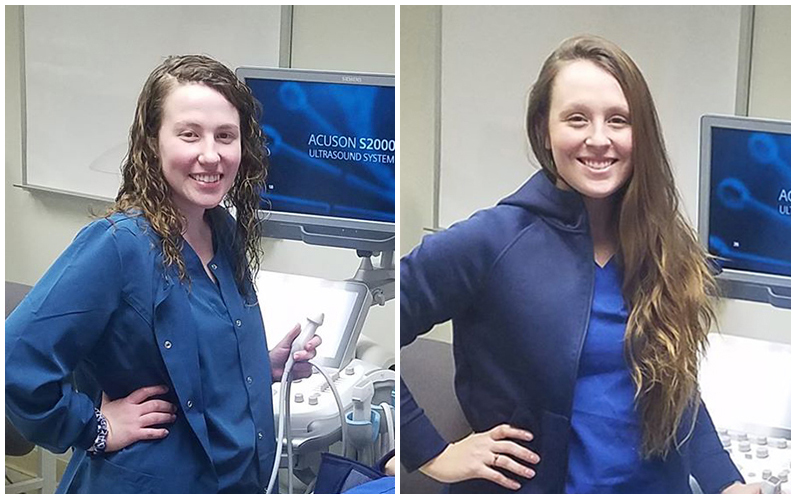 Diagnostic Medical Sonography students and Alan D. Waggoner Student Scholarship Award winners Keirra Stahl (left) and Kaylee Weaver (right)
