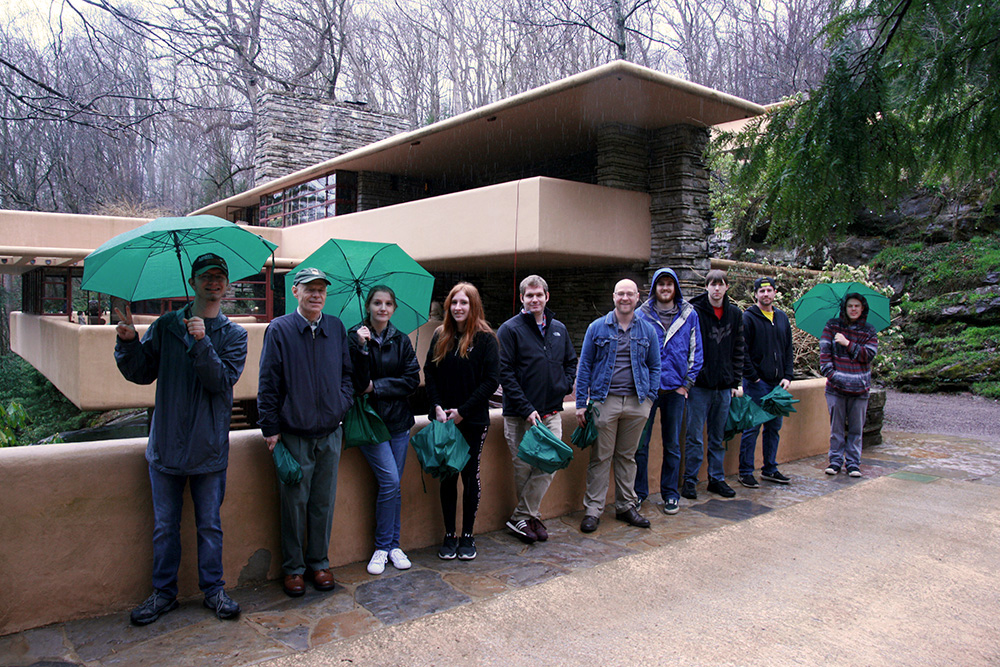 Engineering Technology students outside of the Fallingwater House