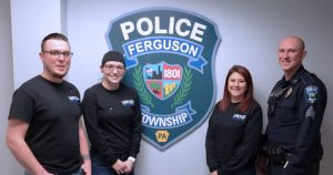 Criminial Justice Students delivering gift-bags to Ferguson Township Police Officers on National Law Enforcement Appreciation Day.