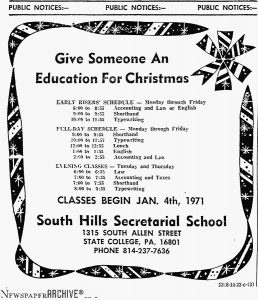 This photo shows a South Hills newspaper ad from 1971