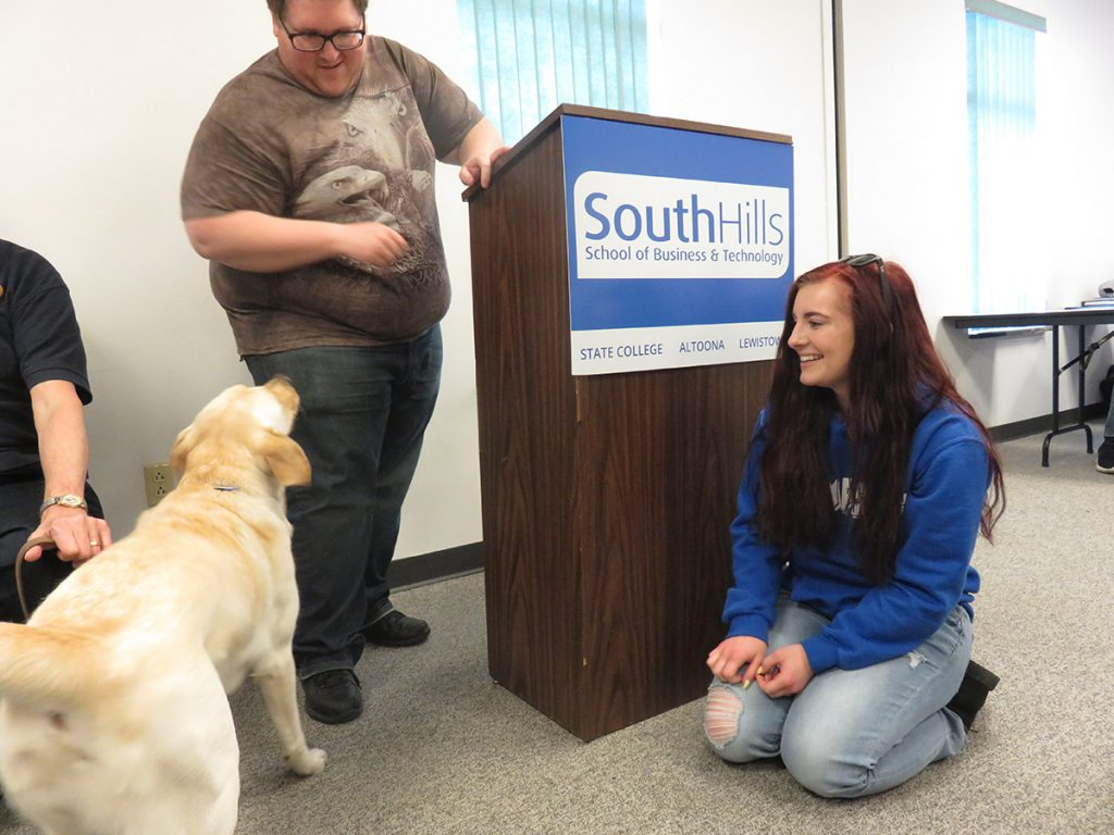 South Hills students meet service dogs from Service Paws of Central PA.