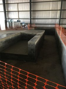 This photo shows a view of the gymnastic pit construction framing