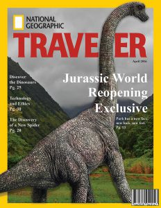 This photo shows a dinosaur on a magazine cover