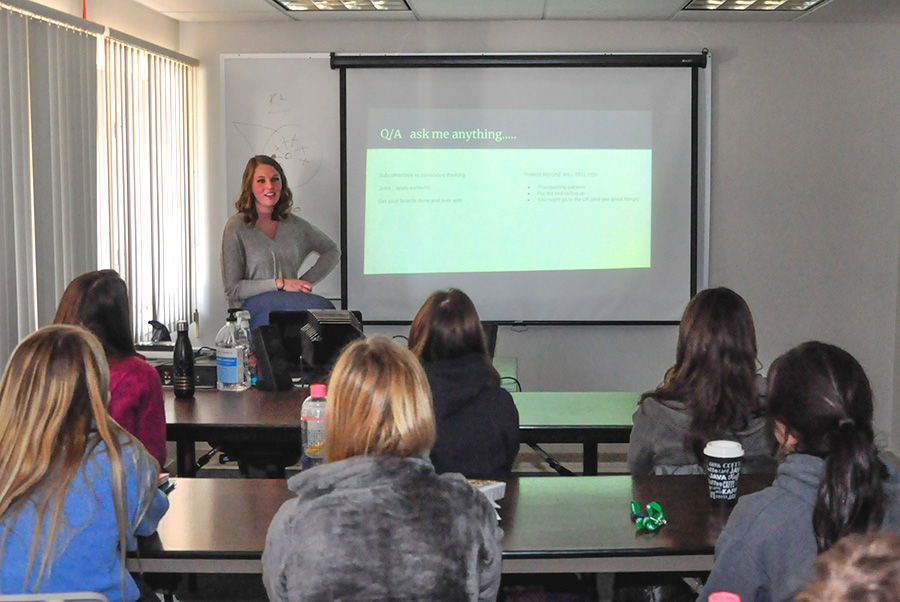 Megan Houts speaking to Diagnostic Medical Sonography Students