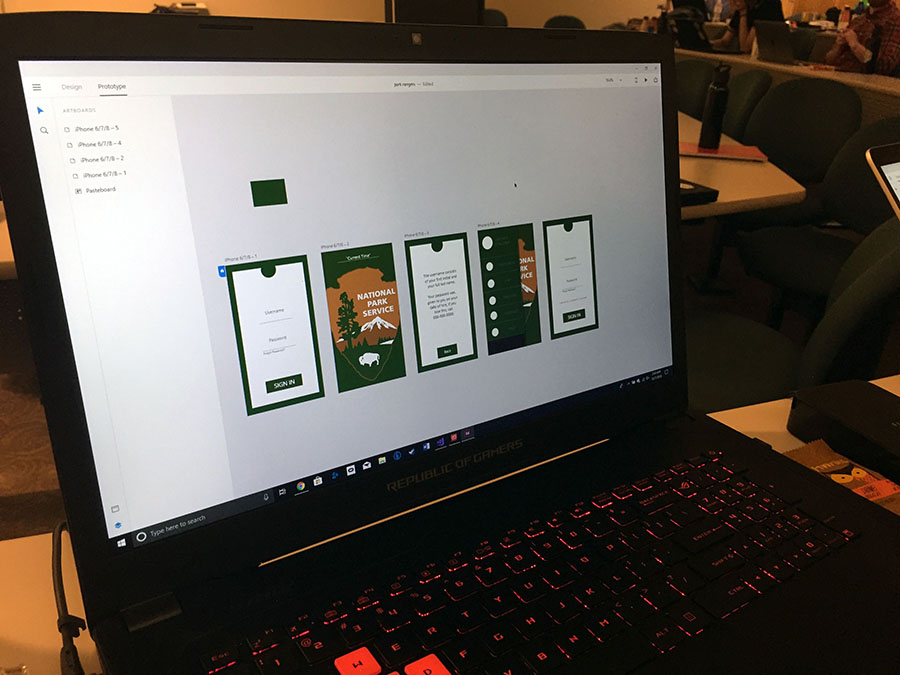 This photo shows the National Park Service design challenge mockups