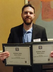2012 Graphic Arts alumnus, Nick Anna, with awards he's won