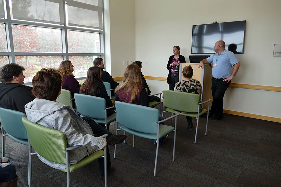 Health Information Technology students hearing from representatives of Geisinger Gray's Woods
