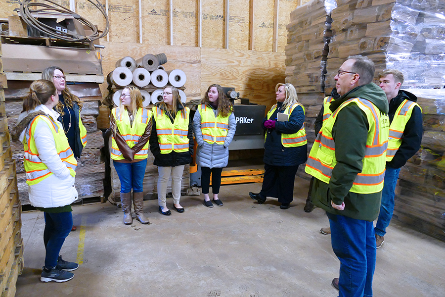 Business Administration–Accounting students are shown on an academic field trip to Metzler Forest Products.