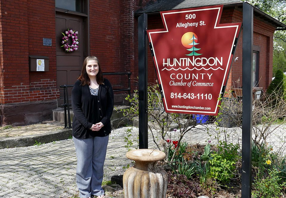 South Hills alumna MacKenzie Huntsman is shown at the Huntingdon County Chamber of Commerce, her place of employment.
