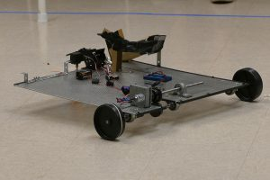 A robotic vehicle built by Engineering Technology students