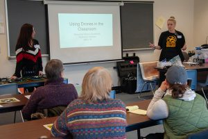 PAECT/SHSBT workshop instructors, Alexandra Konsur-Grushinski and Stephanie Williams, discuss their experiences implementing drone use in the classroom.