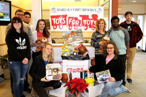 Phi Beta Lambda Members with toys for Toys for Tots