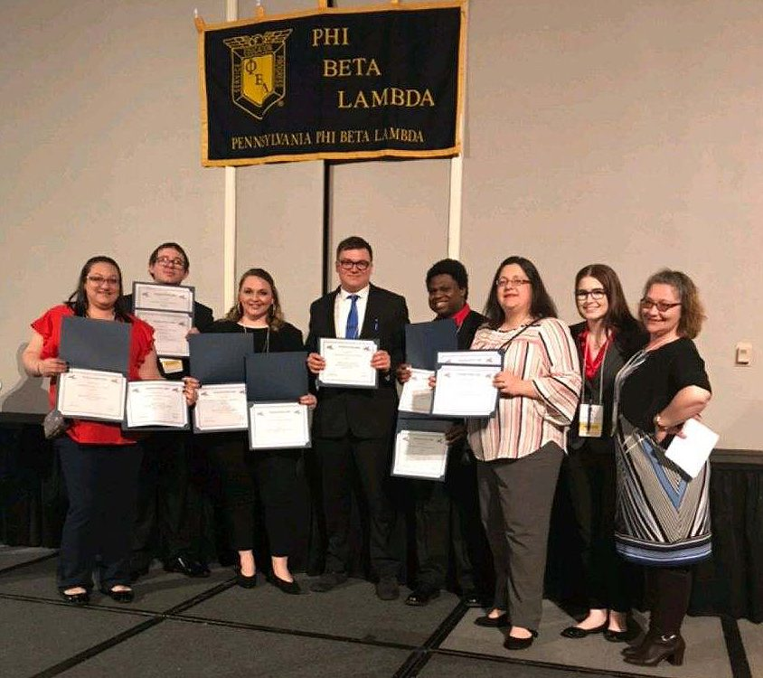Members of the South Hills PBL Club are shown at the PBL State Conference with their awards.