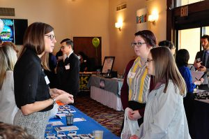 2006 Diagnostic Medical Sonography alumna, Sarah Leitzinger, participates in the South Hills Network Career Fair.