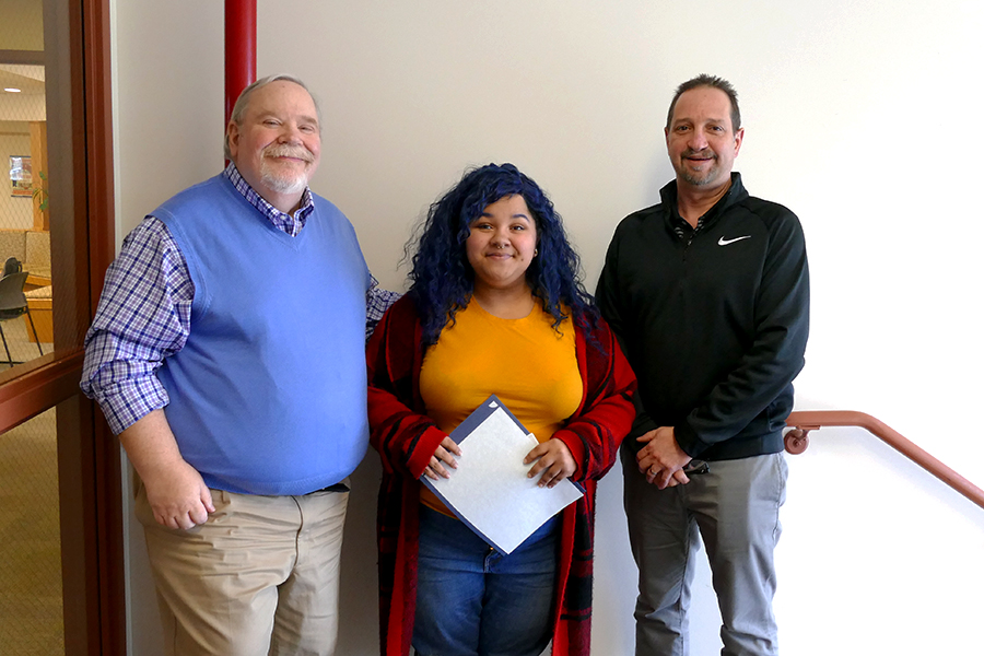 Left to right: Graphic Arts Instructor Jim Colbert, Kari Lynn Schlegel Memorial Scholarship Award winner Becka Turner, and Graphic Arts Program Coordinator/Instructor Ray Liddick