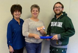 Photo of Ellen Spinelli, Career Services Coordinator, Shawnee Matis, Staff Accountant PCO, and student and PBL State President, Brandon Doerr