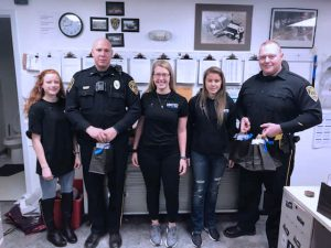 Criminial Justice Students delivering gift-bags to Spring Township Police Officers on National Law Enforcement Appreciation Day.