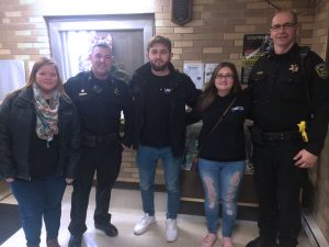 Criminial Justice Students delivering gift-bags to State College Police Officers on National Law Enforcement Appreciation Day.