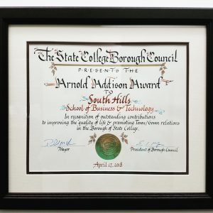This photo shows the Arnold Addison Award