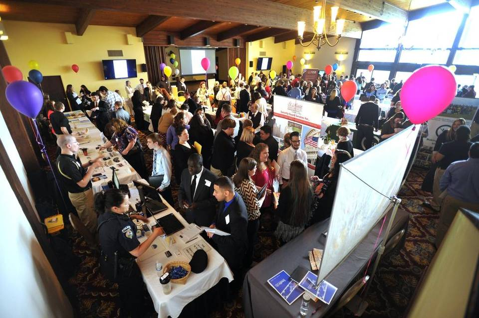 This photo shows an overview of the room at the career fair