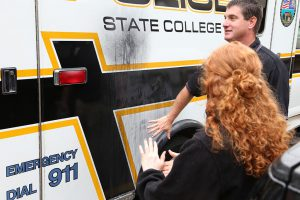 Criminal Justice students touring the State College Crime Lab