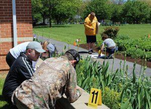 Criminal Justice students practice crime scene investigation.